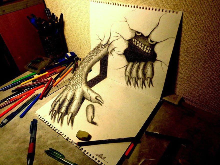 desenhos 3d papel lapis (19)