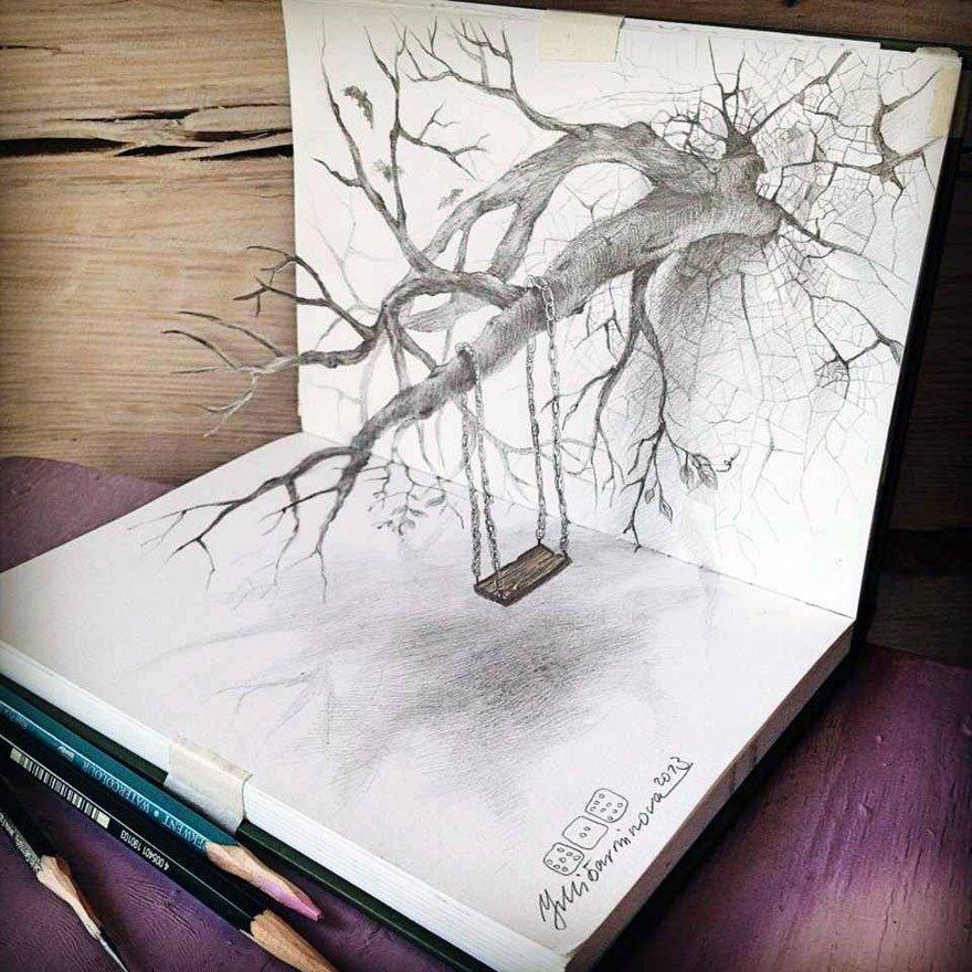 desenhos 3d papel lapis (2)