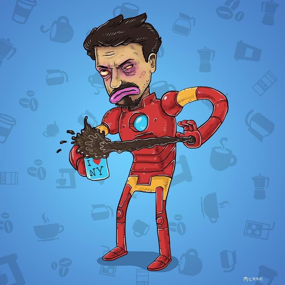 sam-milham-ilustrações-personagens-desenhos-ressaca-drogados-tony-stark-homem-de-ferro