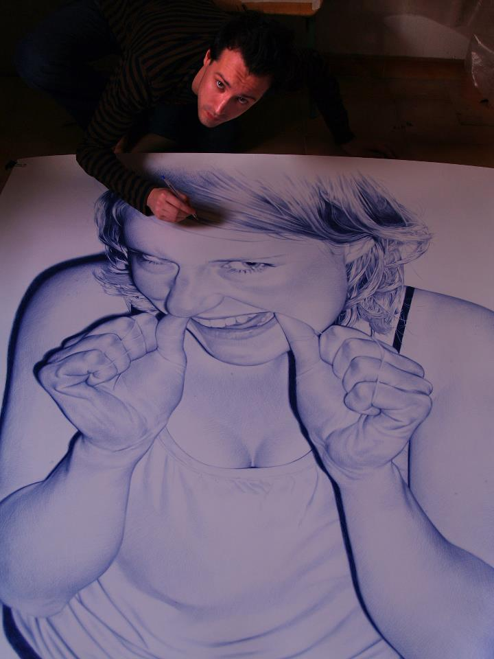 juan francisco cavas realismo caneta esferografica bic oleo sobre tela pintura dionisio arte (1)