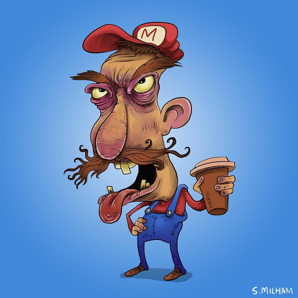 sam-milham-ilustrações-personagens-desenhos-ressaca-drogados-mario-bros